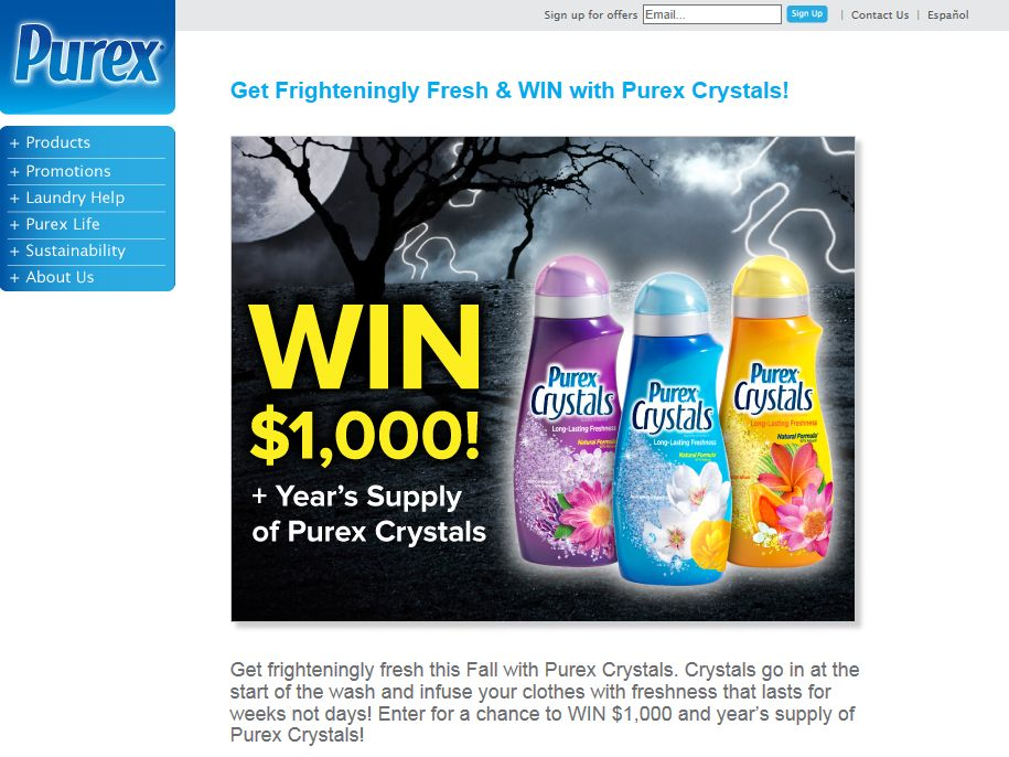 Purex Crystals Frighteningly Fresh Sweepstakes