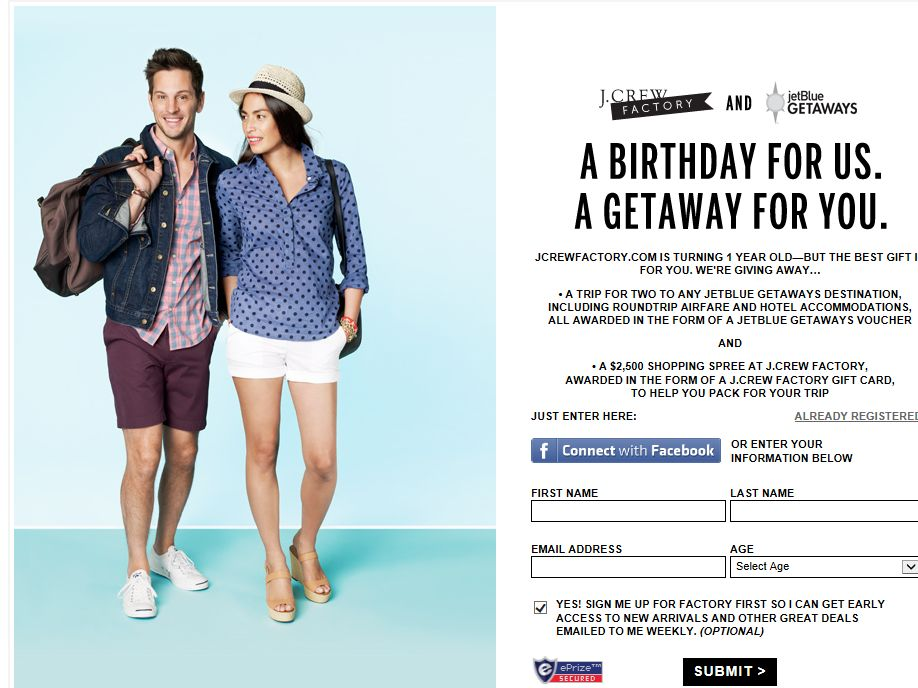 J.Crew Factory and JetBlue Getaways Sweepstakes