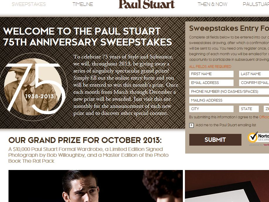 Paul Stuart 75th Anniversary Sweepstakes