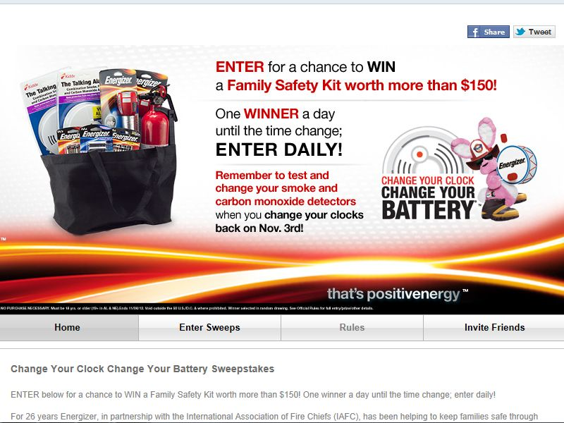 "Energizer ""Change Your Clock Change Your Battery"" Sweepstakes"