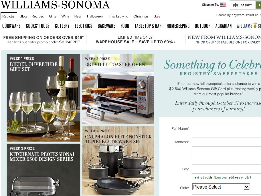 Williams-Sonoma Something to Celebrate Sweepstakes