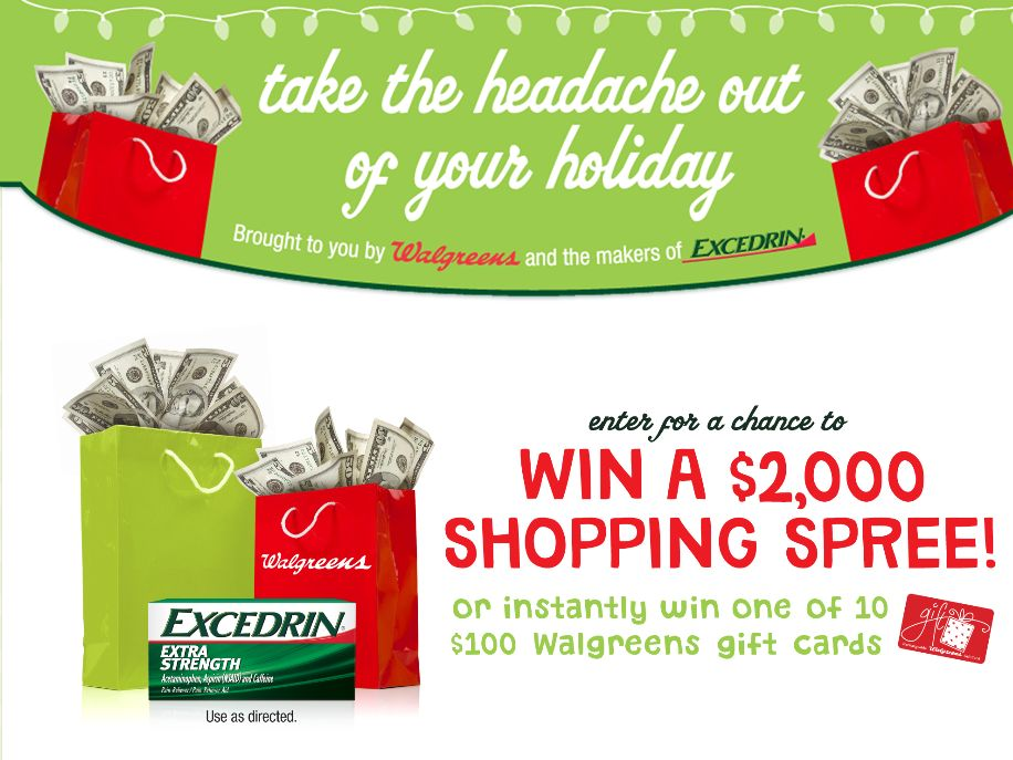 Walgreens Excedrin Holiday Sweepstakes