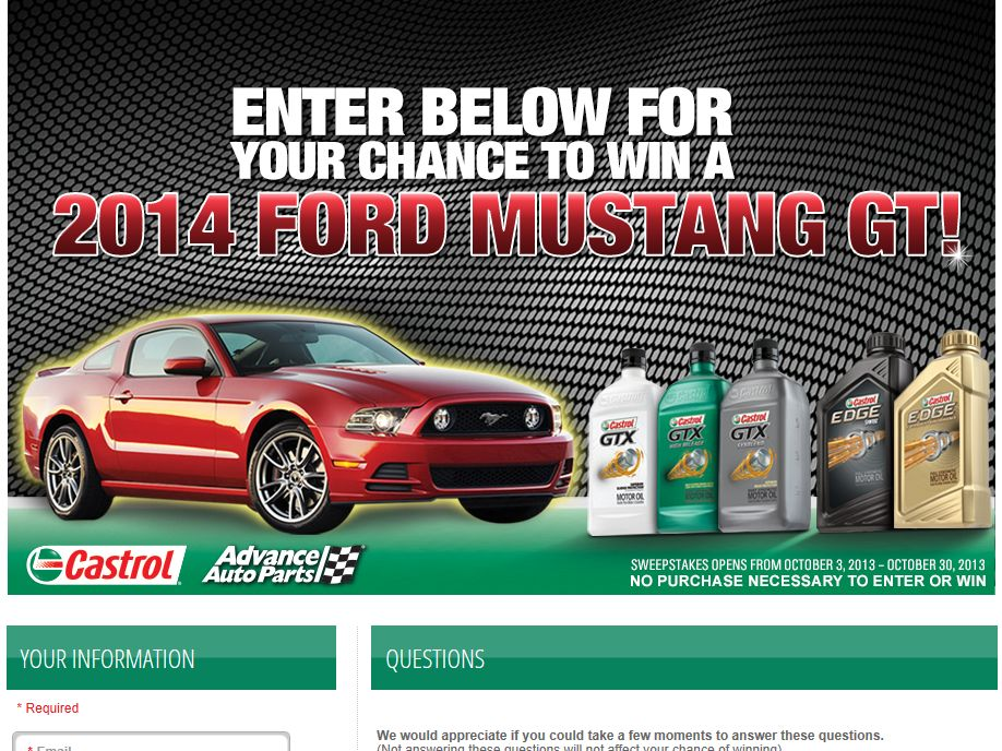 Castrol/Advance Auto Parts Ford Mustang GT Sweepstakes