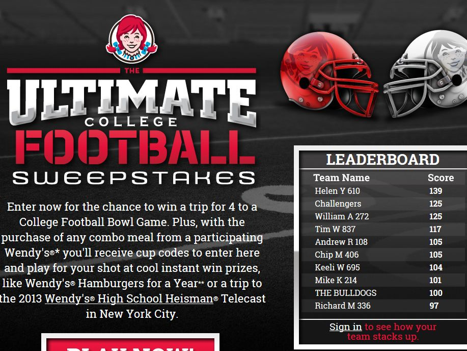 Coca-Cola & Wendy's Ultimate College Football Sweepstakes