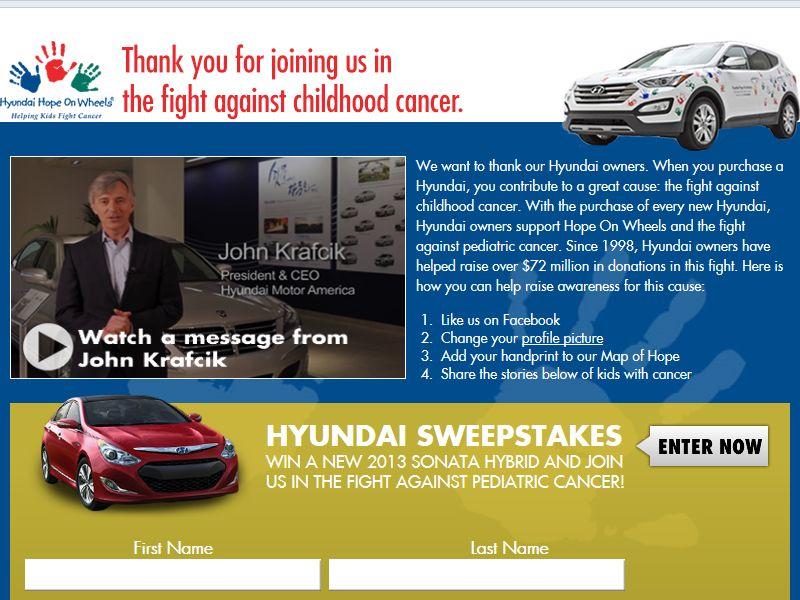 Hyundai Hope on Wheels Sweepstakes