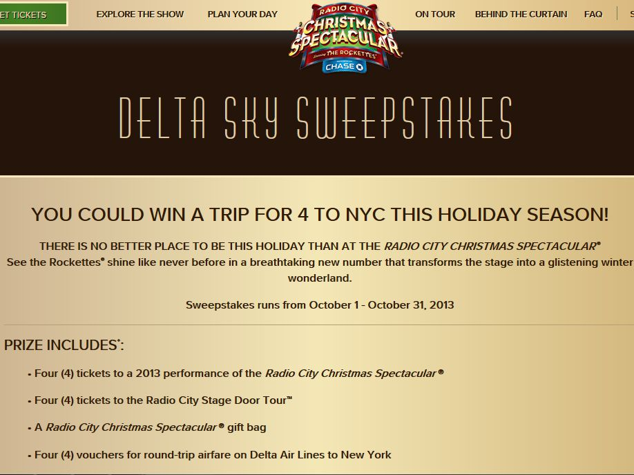 Radio City Christmas Spectacular Sweepstakes