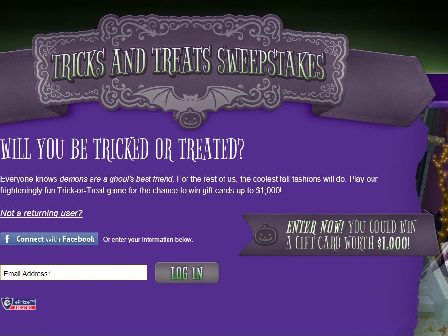 Tricks and Treats Sweepstakes