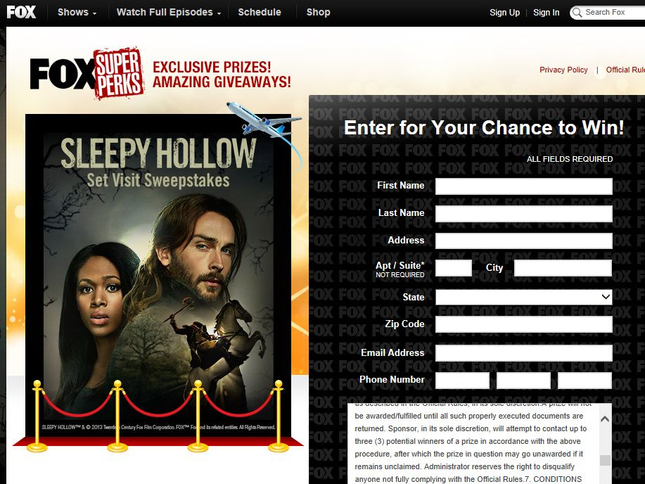 SLEEPY HOLLOW Set Visit Sweepstakes