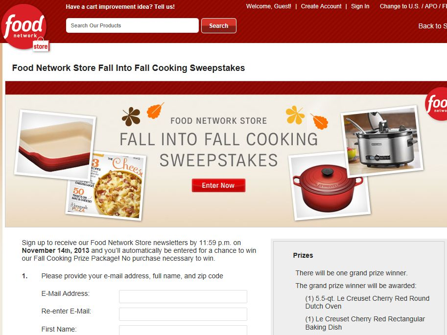 Food Network Store Fall Into Fall Cooking Sweepstakes