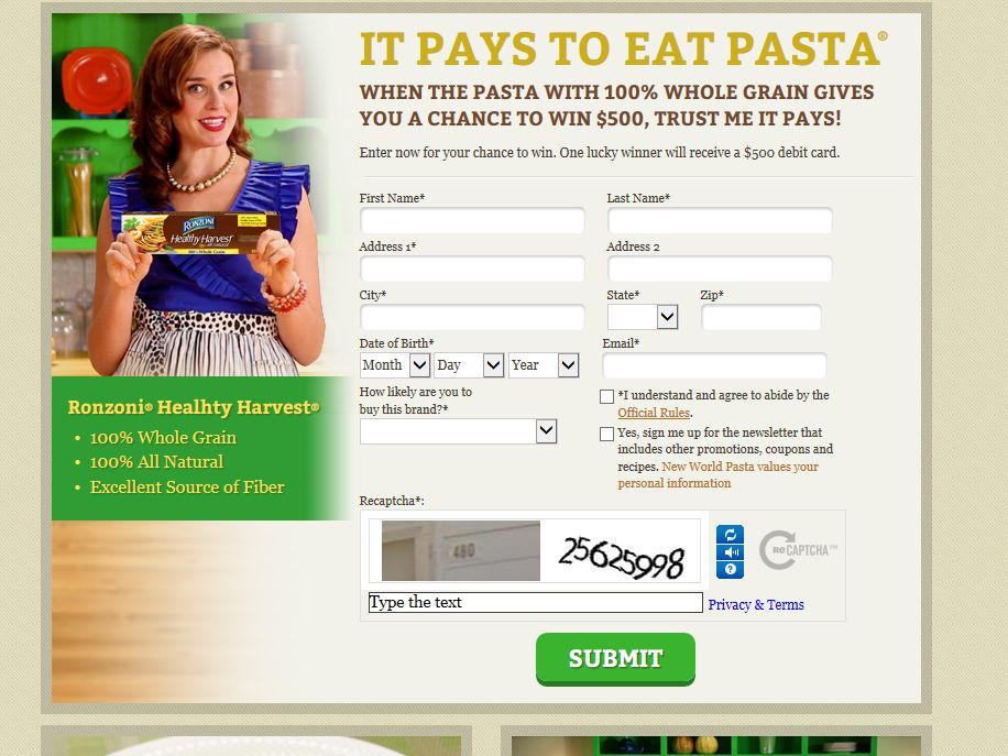 It Pays to Eat Pasta #8 Sweepstakes