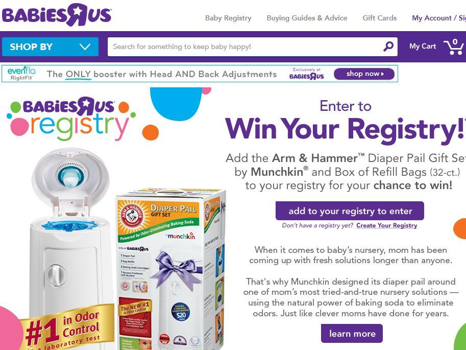 "Babies""R""Us Munchkin Registry Sweepstakes"