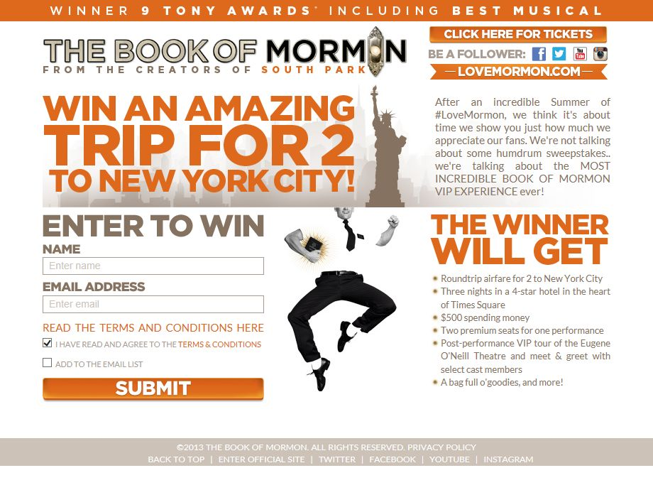 The Book of Mormon Sweepstakes