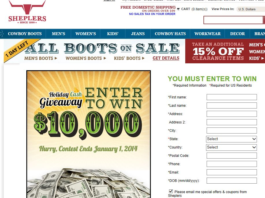 Sheplers $10,000 Holiday Cash Giveaway