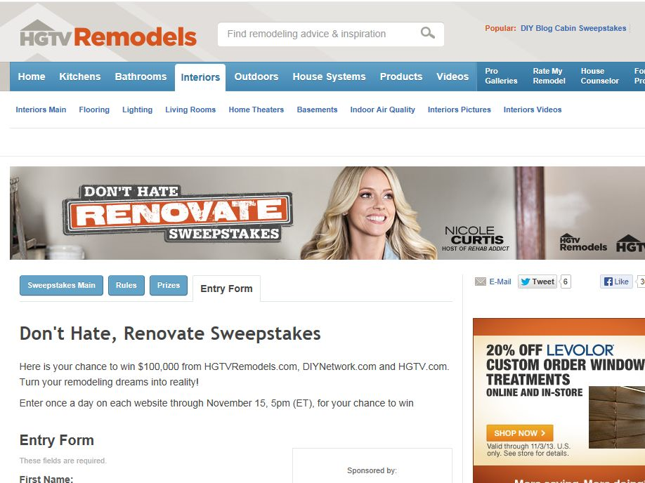 Don't Hate Renovate Sweepstakes