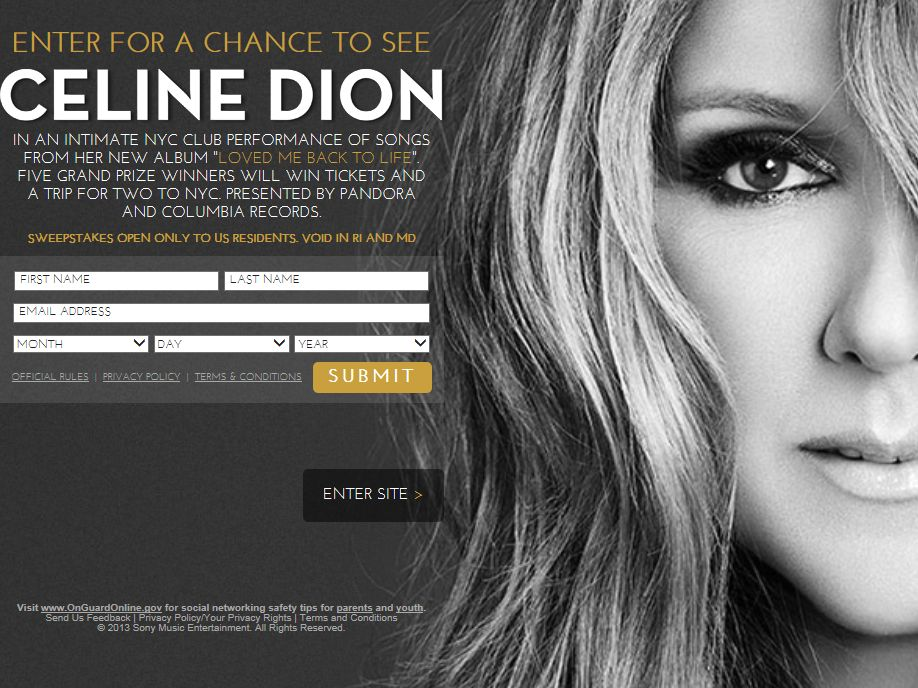 An Evening with Celine Dion at The Edison Ballroom Sweepstakes