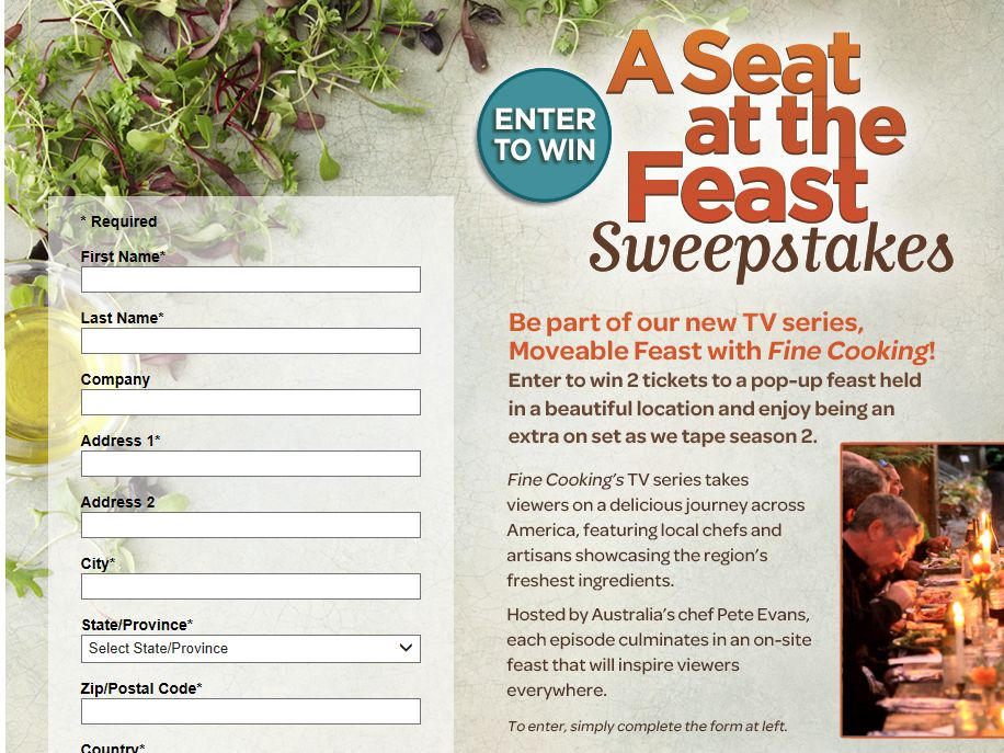 A Seat at the Feast Sweepstakes