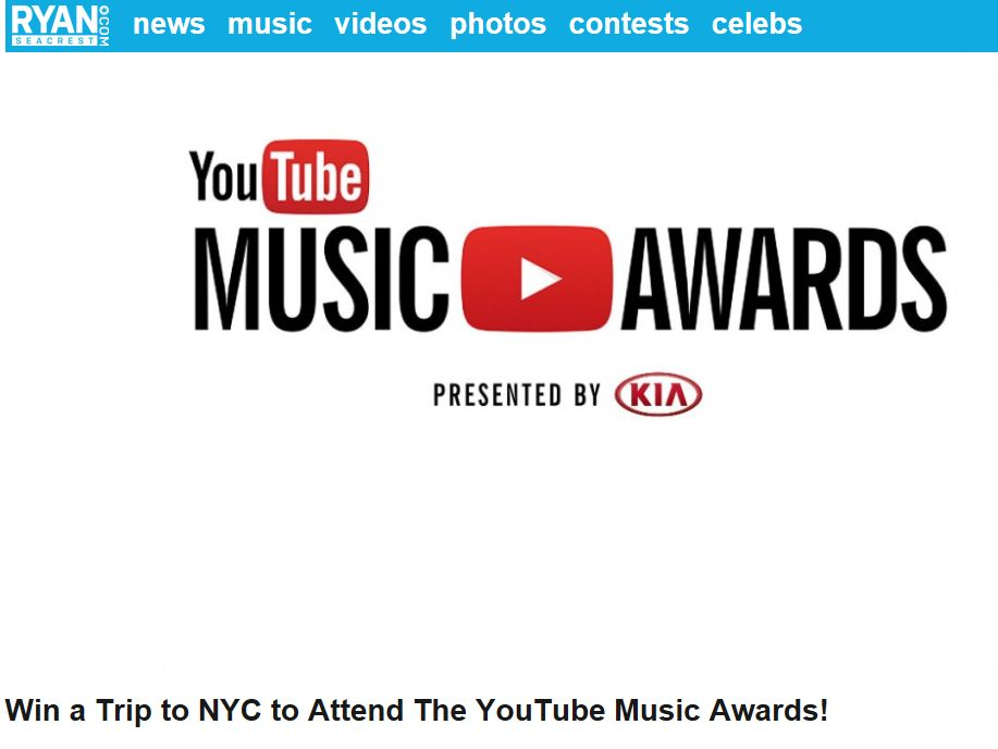 Ryan Seacrest's YouTube Music Awards Flyaway Sweepstakes