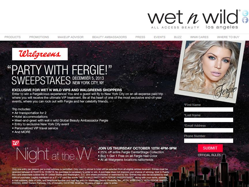 wet n wild Party with Fergie! Sweepstakes