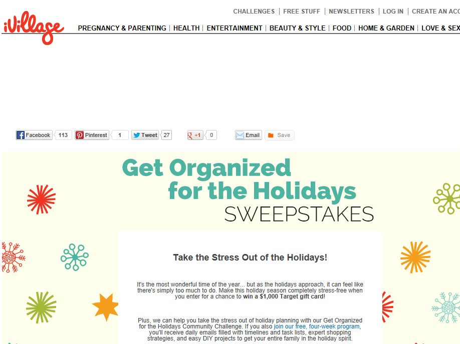 iVillage Get Organized for the Holidays Sweepstakes