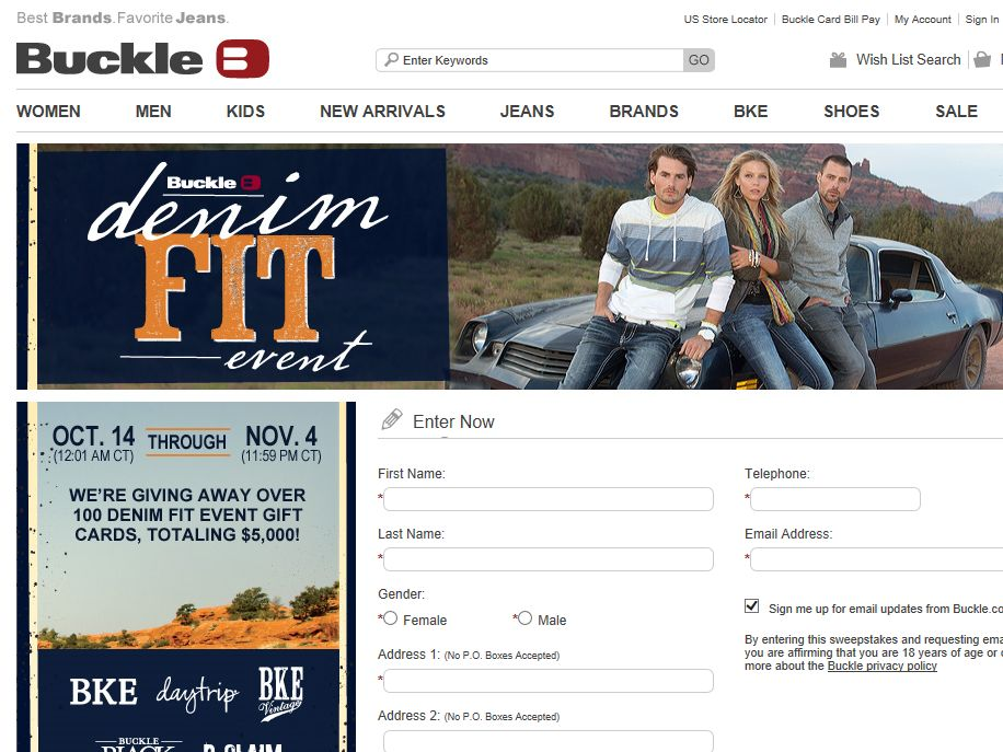 Buckle Denim Fit Event Sweepstakes