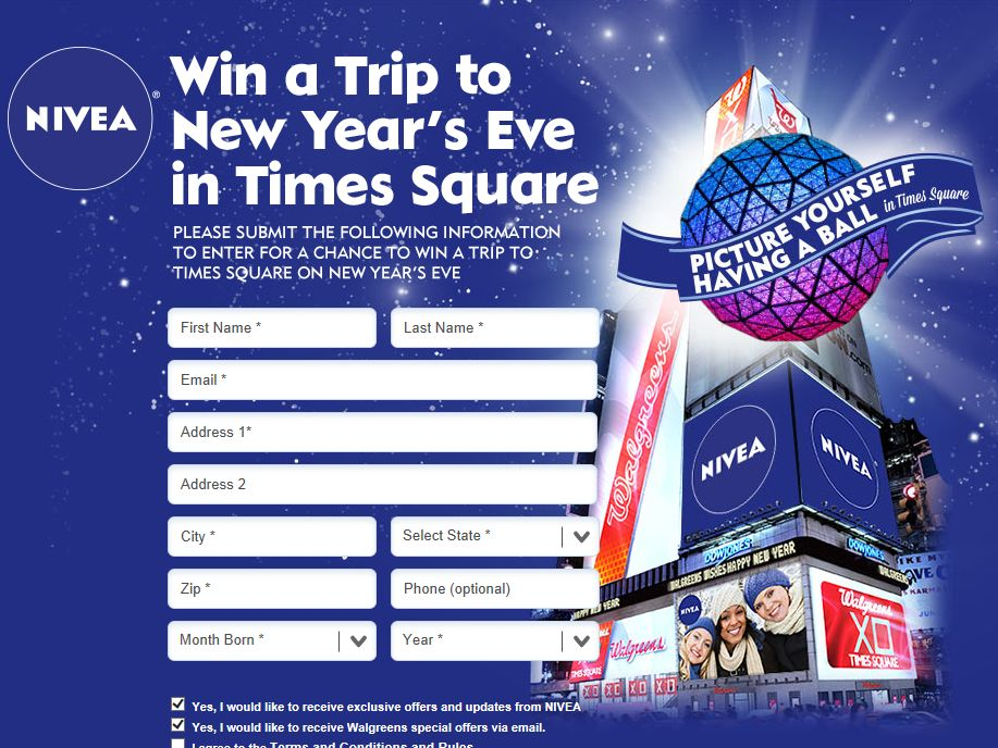 Nivea New Year's Sweepstakes