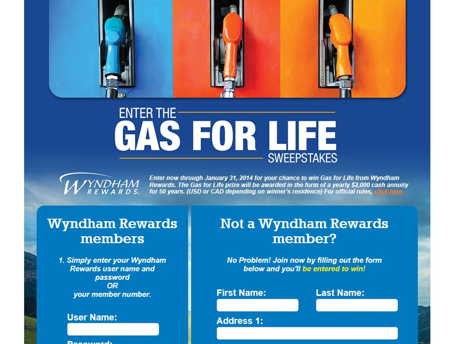Wyndham Rewards Gas For Life Sweepstakes