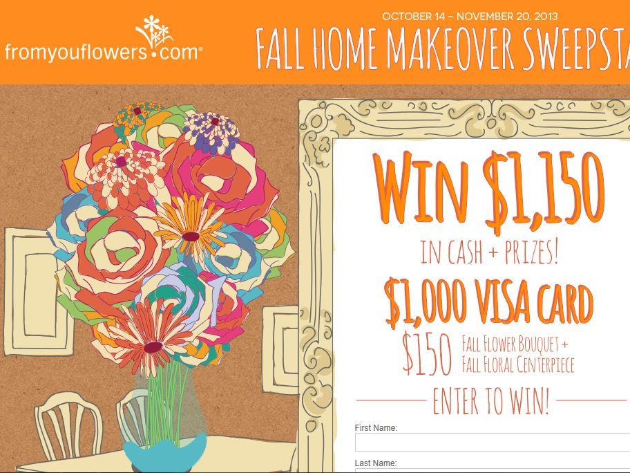 From You Flowers Fall Home Makeover Sweepstakes
