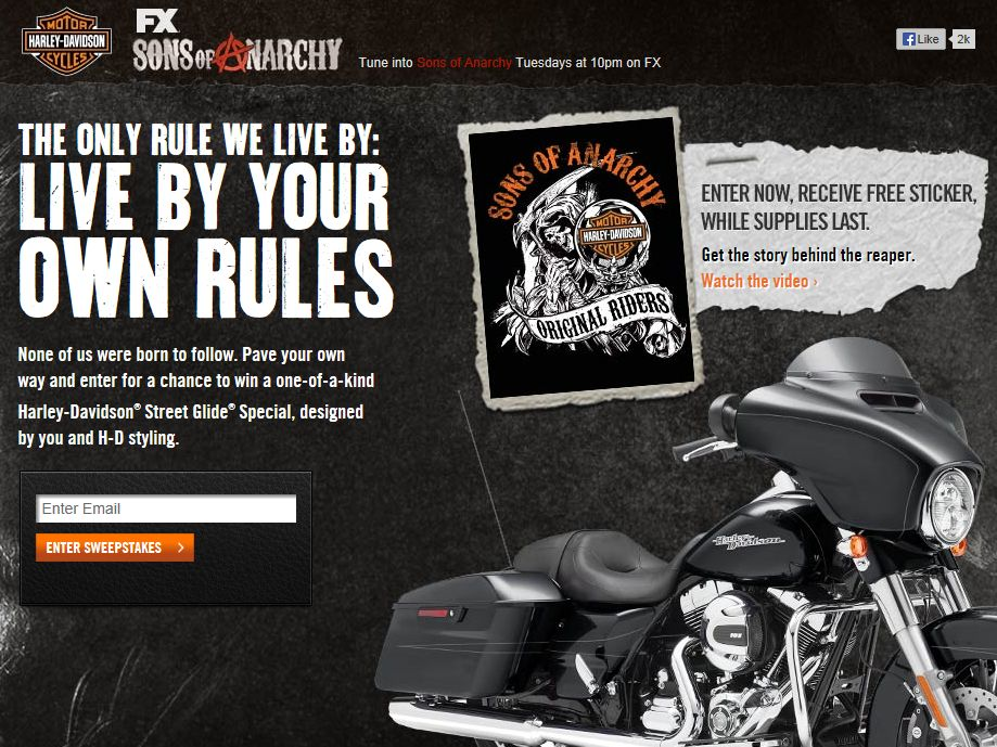 Harley-Davidson and Sons of Anarchy Bike Sweepstakes