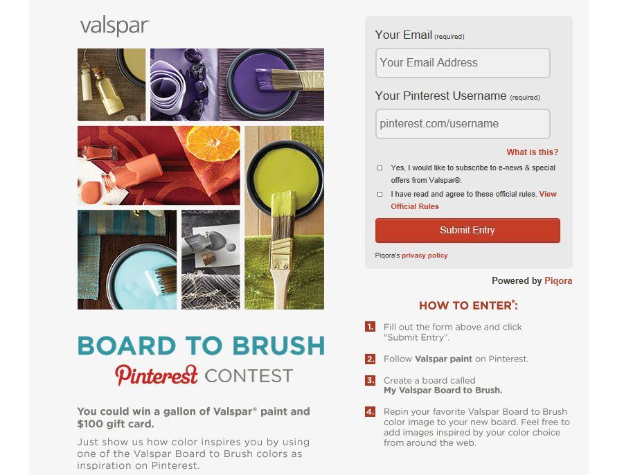 Valspar Board to Brush Pinterest Contest