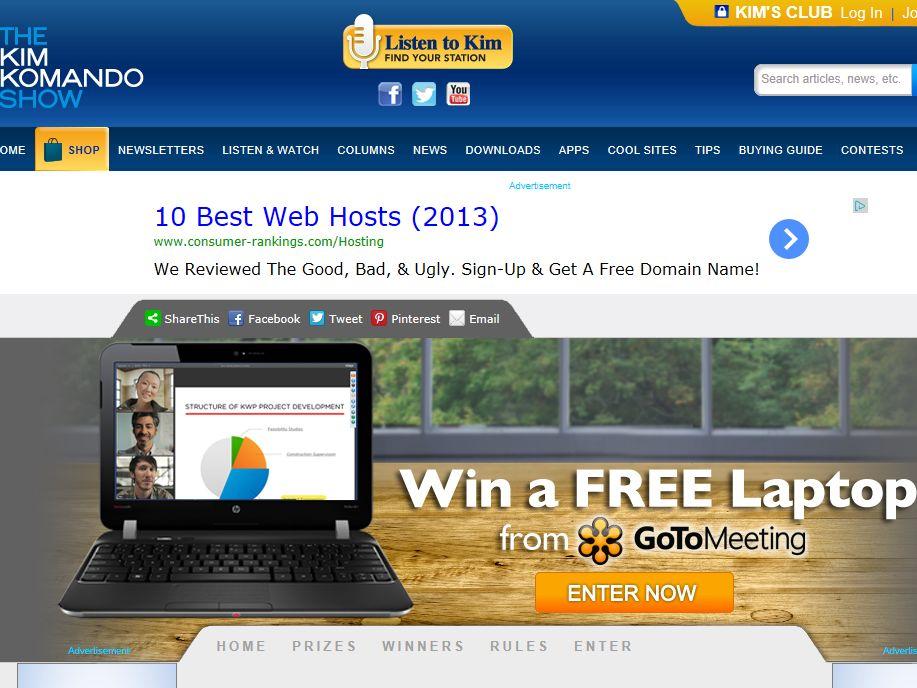 "Kim Komando Show ""Win a laptop from @GoToMeeting!"" Sweepstakes"