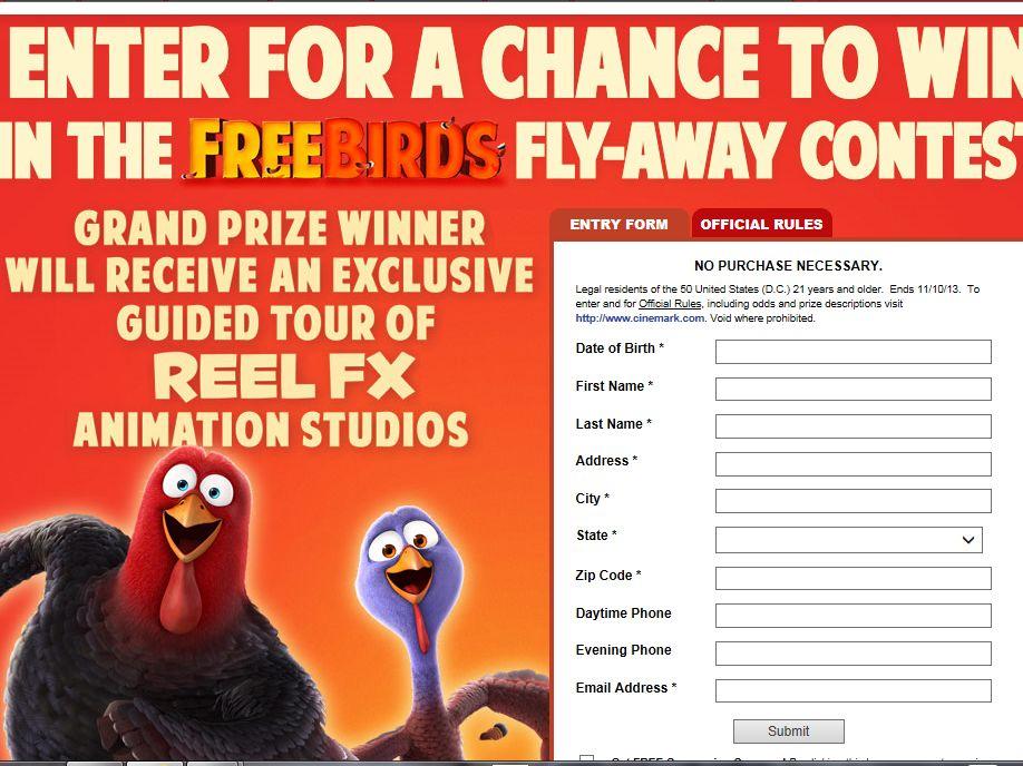 Cinemark Free Birds Fly-Away Sweepstakes