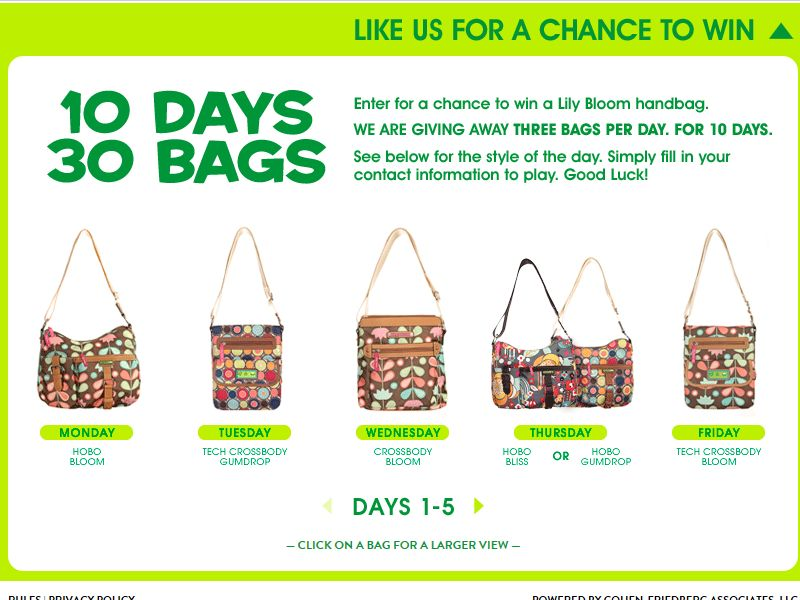 Rosetti 10 Days. 30 Bags. Sweepstakes
