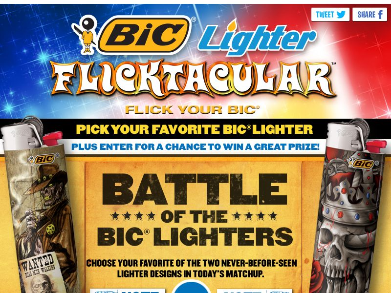 BIC Pocket Lighter: Battle of the BIC Lighters Sweepstakes
