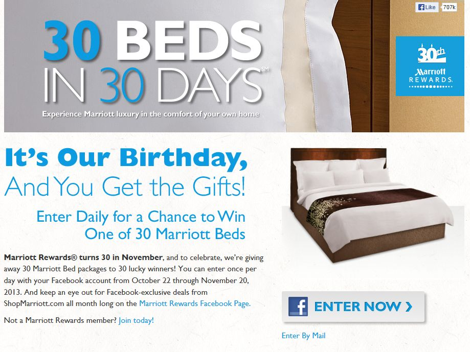 Marriott Rewards 30 Beds in 30 Days Sweepstakes