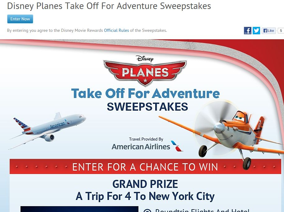 Disney Planes: Take Off For Adventure Sweepstakes