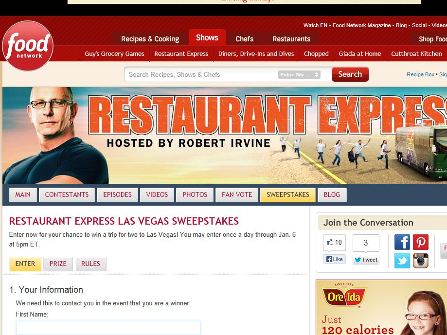 Food Network Restaurant Express Las Vegas Sweepstakes