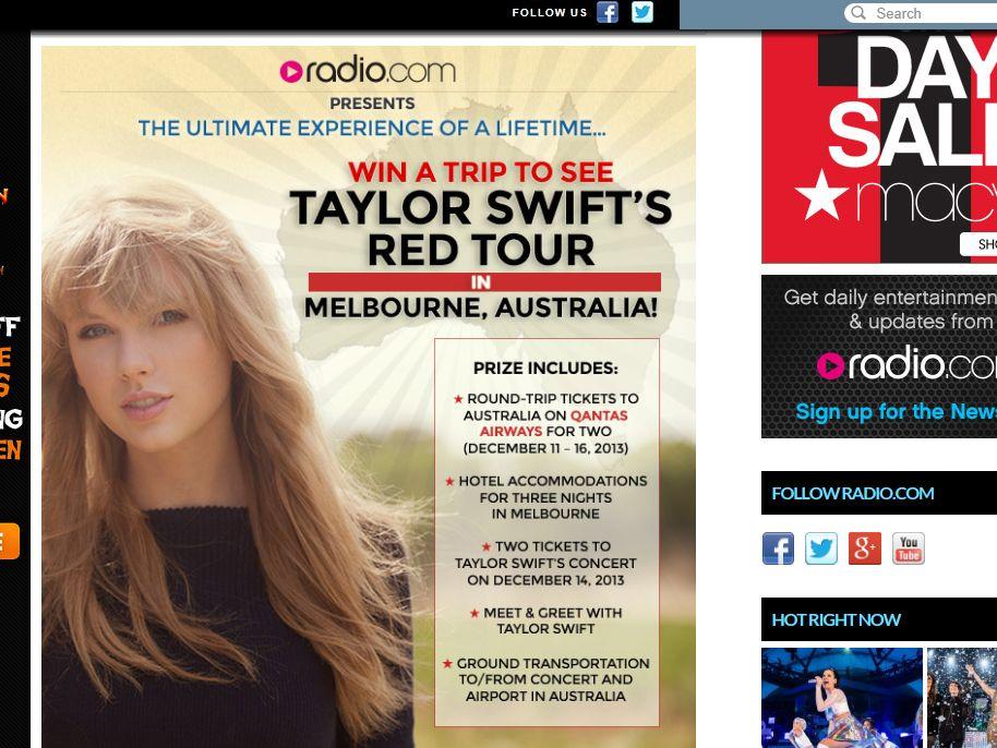 "Radio.com's ""Taylor Swift – Australia"" Promotion"