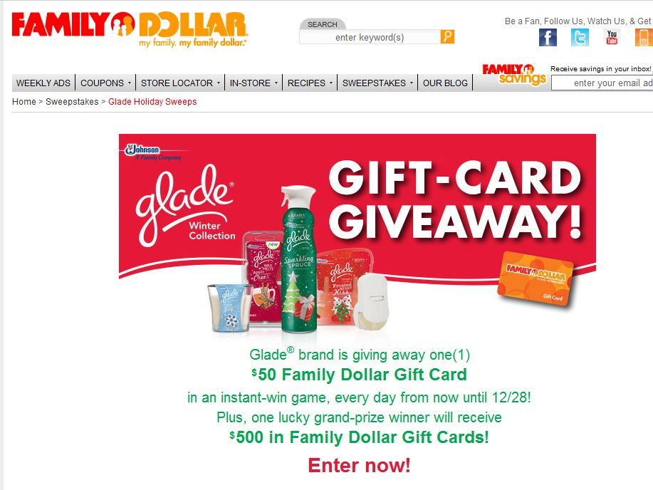 S.C Johnson/Family Dollar Instant-Win Game
