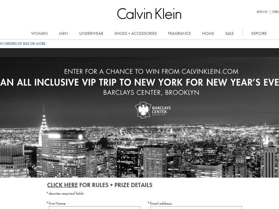 Calvin Klein's Barclays Center VIP Experience Sweepstakes