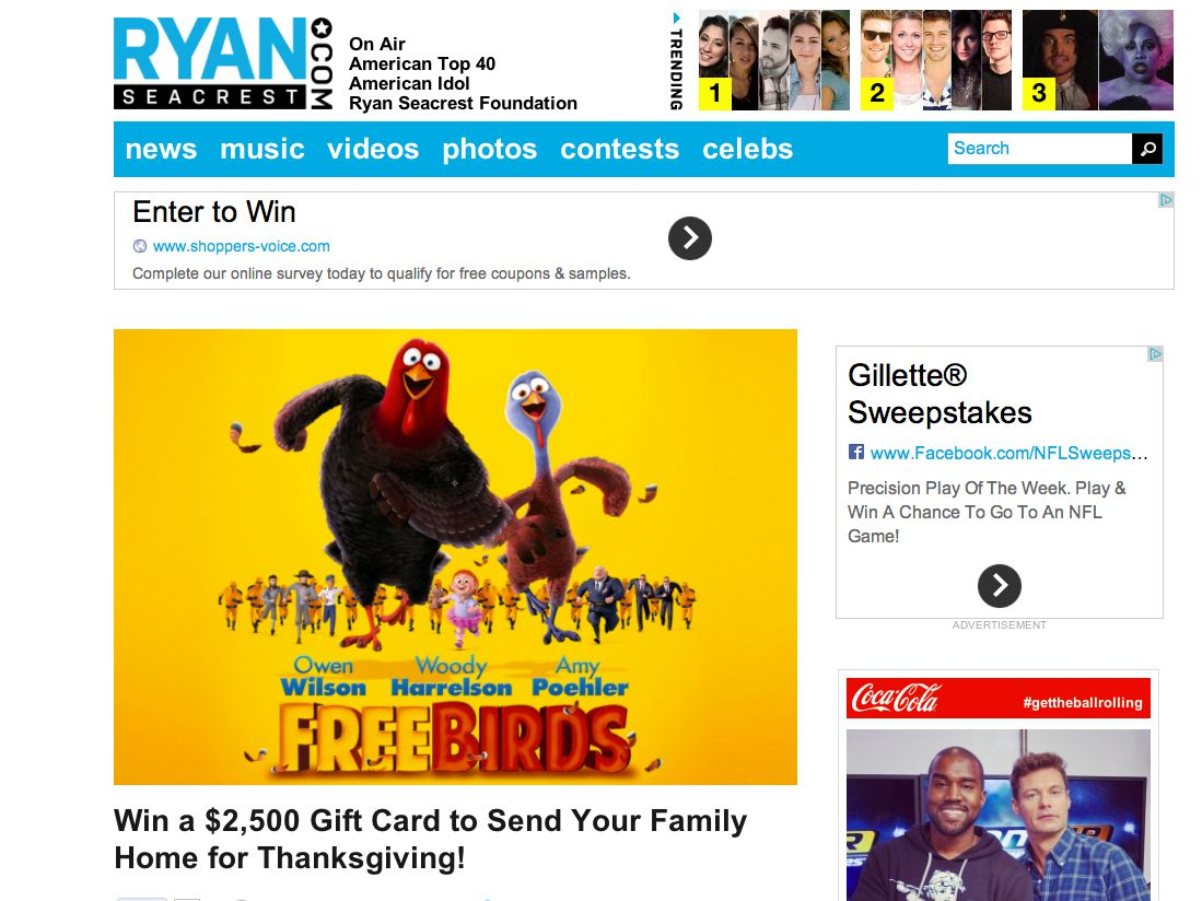 Ryan Seacrest's Home for Thanksgiving Sweepstakes