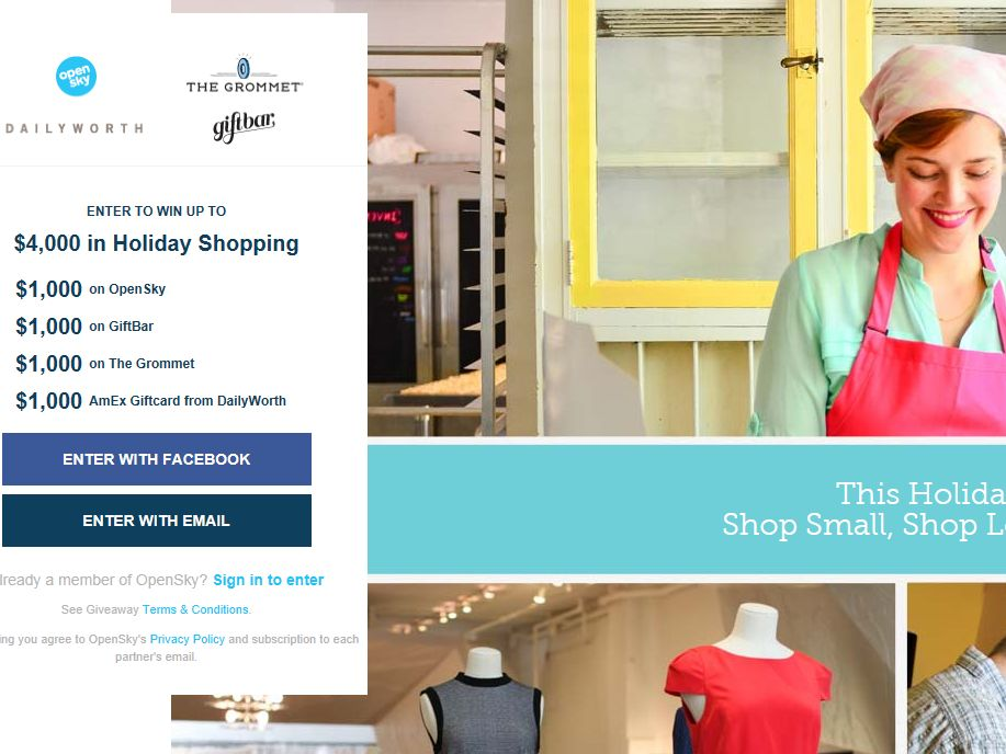 Shop Small for Holiday Sweepstakes