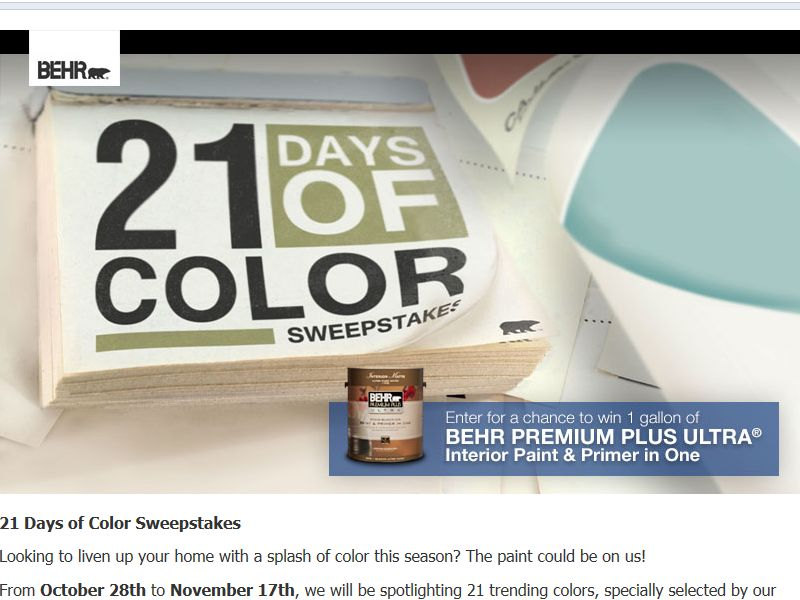 Behr 21 Days of Color Sweepstakes