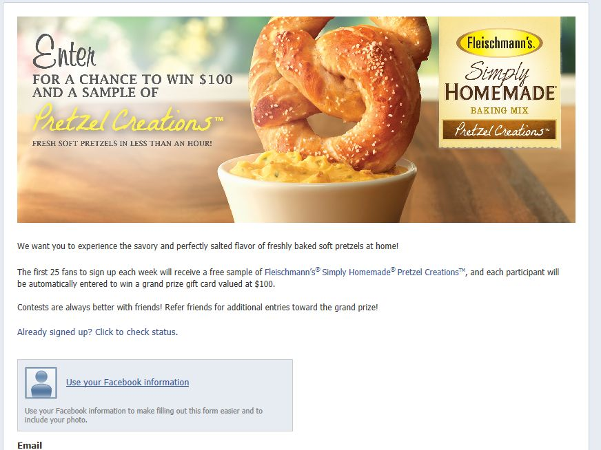 Fleischmann's Simply Homemade Pretzel Creations Promotion