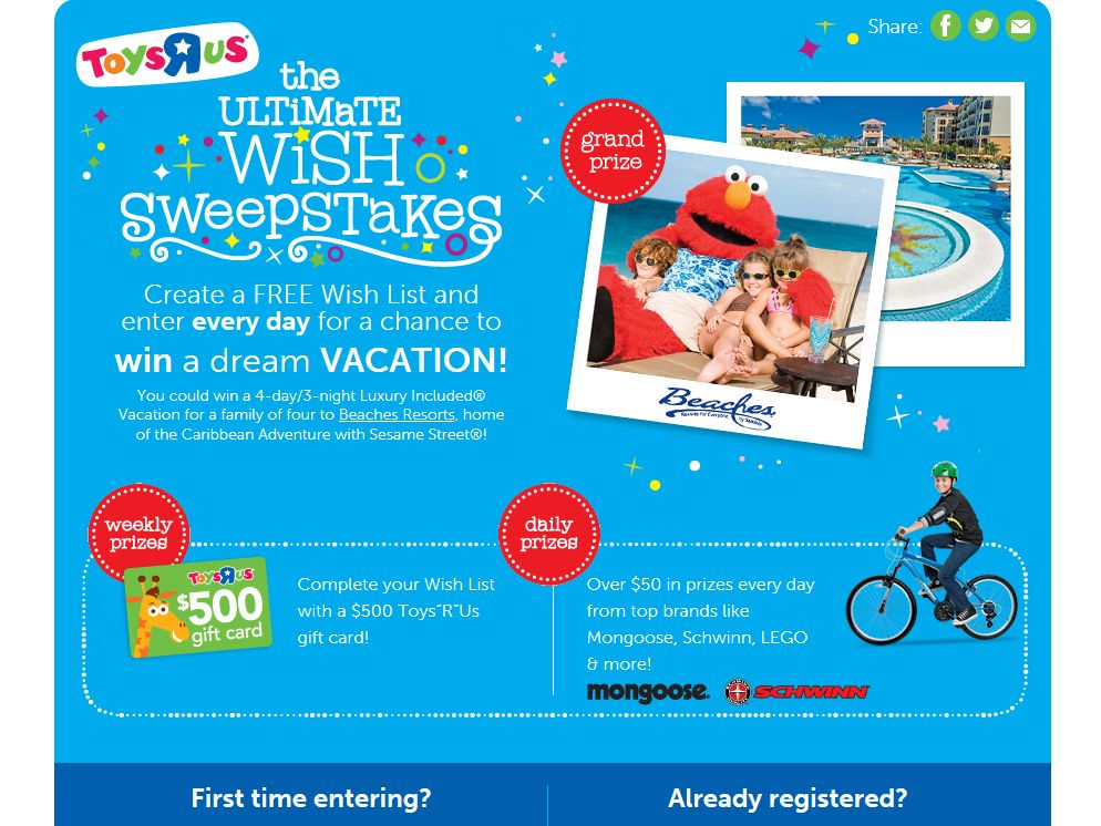 Toys R' Us Ultimate Wish Sweepstakes