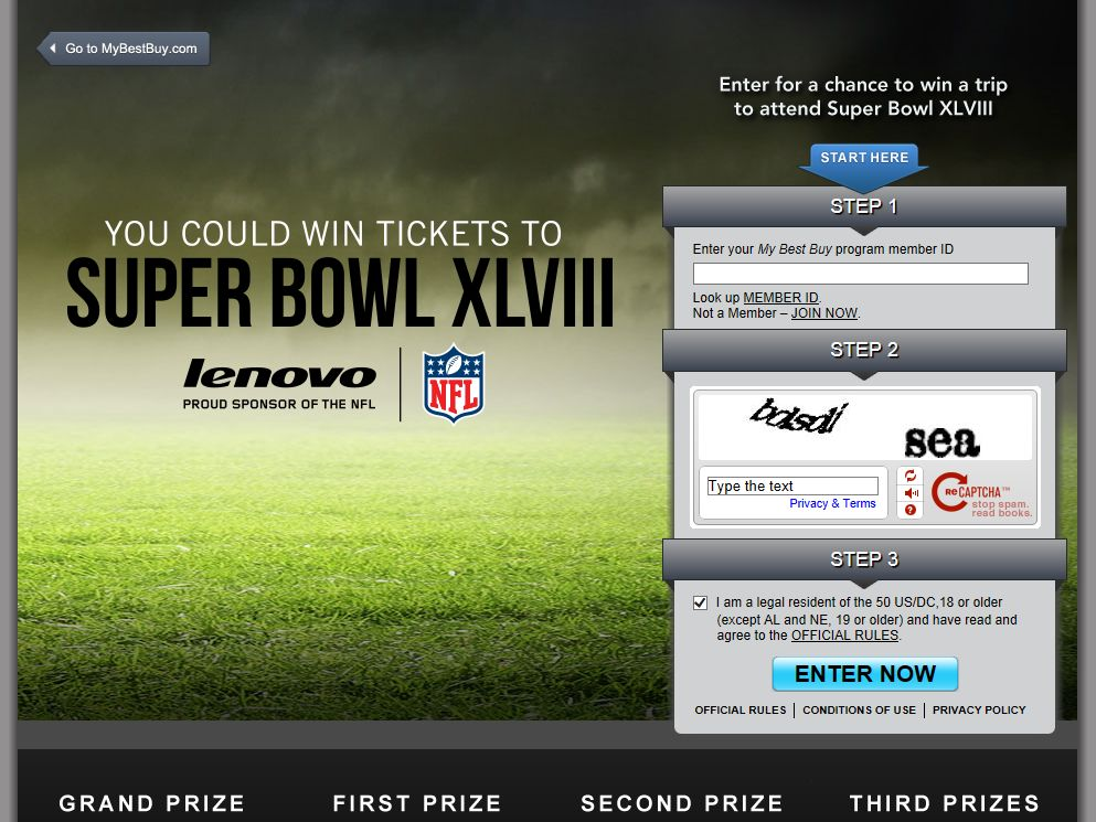 Lenovo Super Bowl Sweepstakes