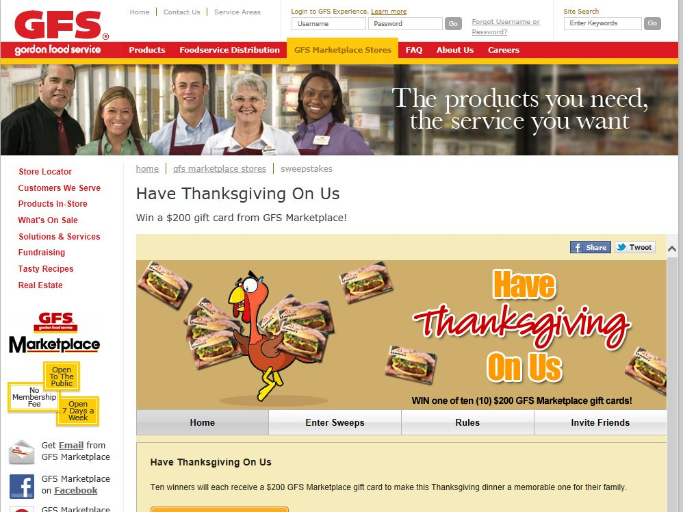 "Gordon Food Services ""Have Thanksgiving On Us"" Sweepstakes"