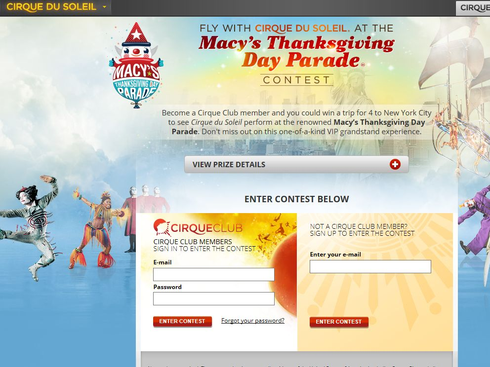 """""""Fly with Cirque du Soleil at the Macy's Thanksgiving Day Parade"""" Sweepstakes"""