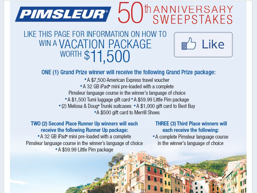 The Pimsleur 50th Anniversary Sweepstakes