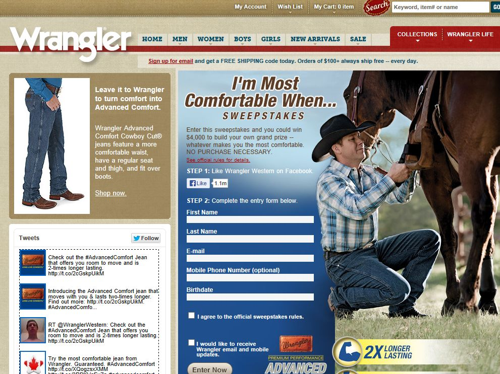 "Wrangler ""I'm Most Comfortable When...."" Sweepstakes"
