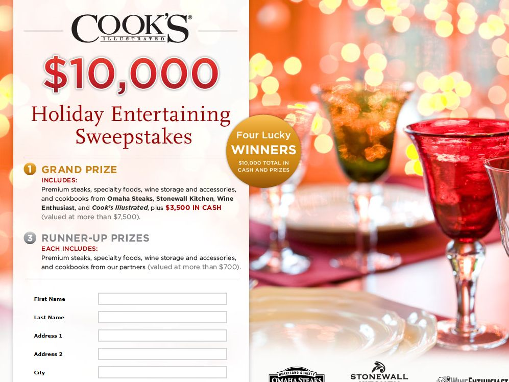 Cook's Illustrated Holiday Entertaining Sweepstakes